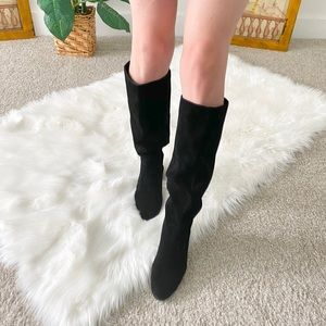 Sole Society Suede Leather Tall Wedge Boots